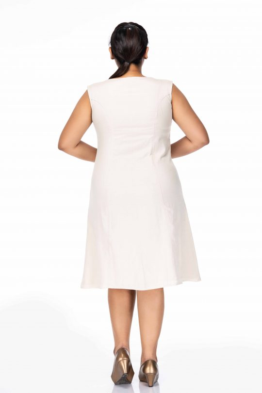 BEIGE FRONT PLUS SIZE POCKET DRESS