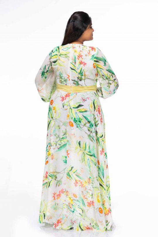 ELEGANT CREAM FLORAL PRINT WRAP PLUS SIZE MAXI DRESS