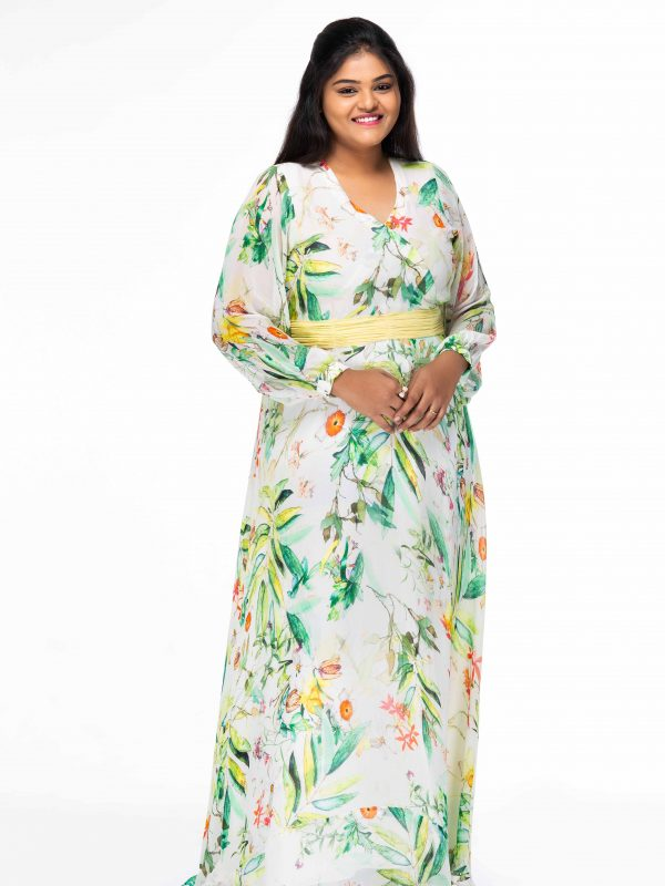 ELEGANT CREAM FLORAL PRINT WRAP PLUS SIZE MAXI DRESS