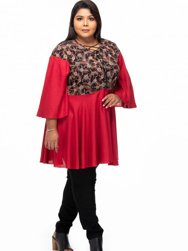 Plus size Rustic red ajrakh tunic
