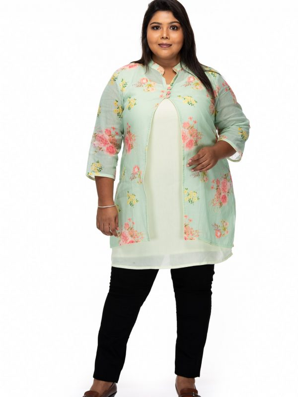 Plus size Floral Printed Green Plus Size Top - front