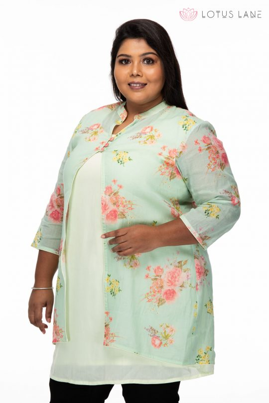 Plus size Floral Printed Green Plus Size Top - Side
