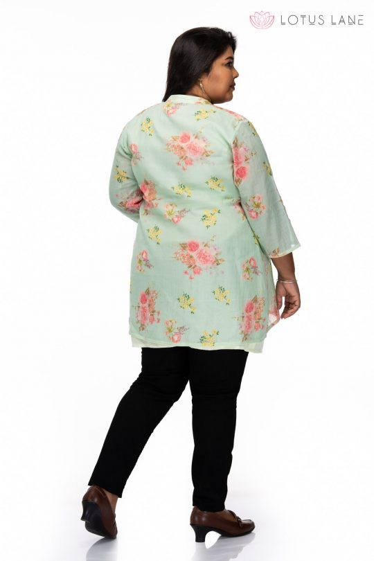 Plus size Floral Printed Green Plus Size Top - back