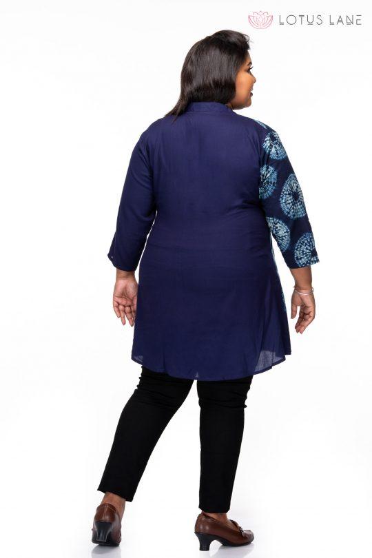 Plus size Indigo Blue Overlap Tunic