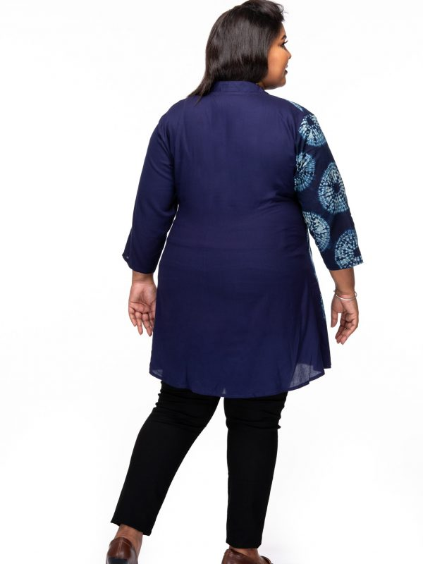 Plus size Indigo Blue Overlap Tunic