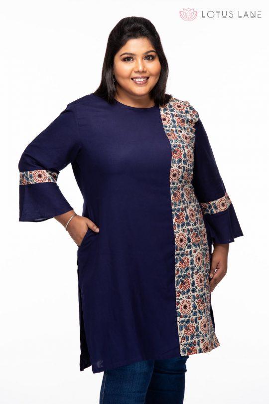 Plus size Blue treasure Ajrakh tunic