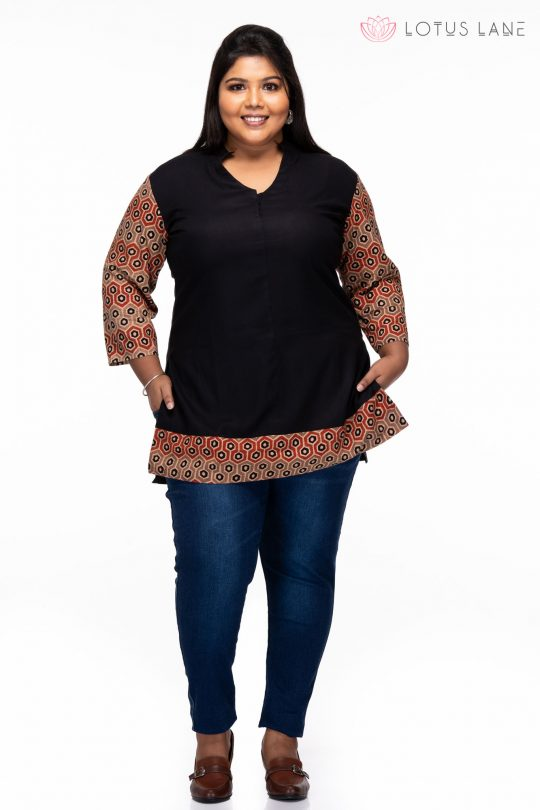 Plus size Ajrakh Cotton Kurti - front