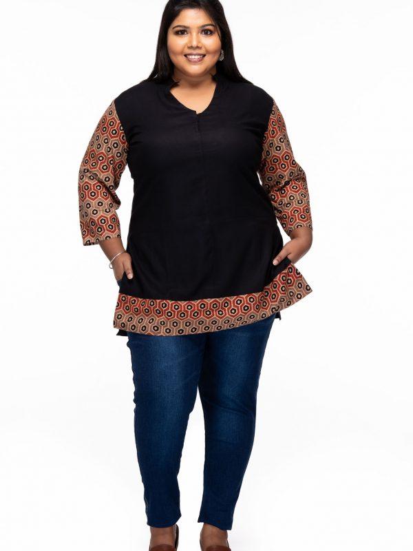 Plus size Ajrakh Cotton Kurti - front