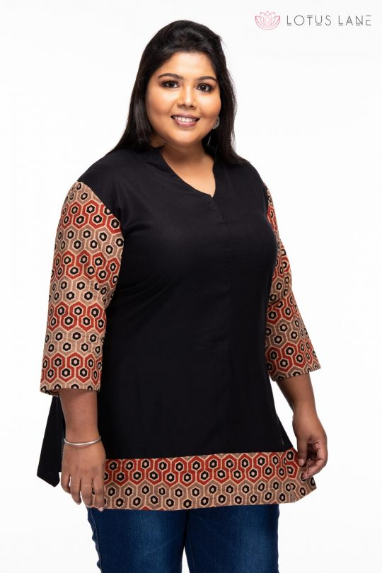 Plus size Relaxed Ajrakh cotton tunic - front closeup