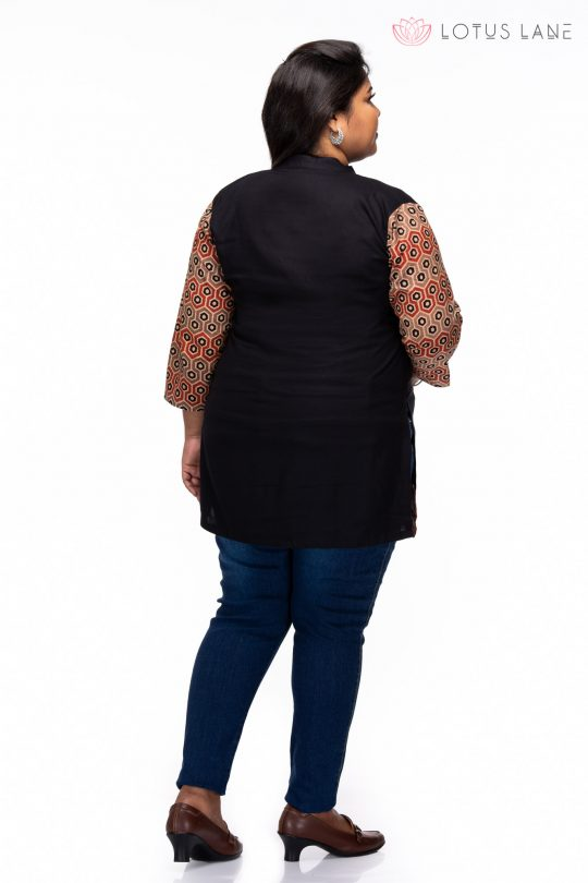 Plus size Relaxed Ajrakh cotton tunic - back
