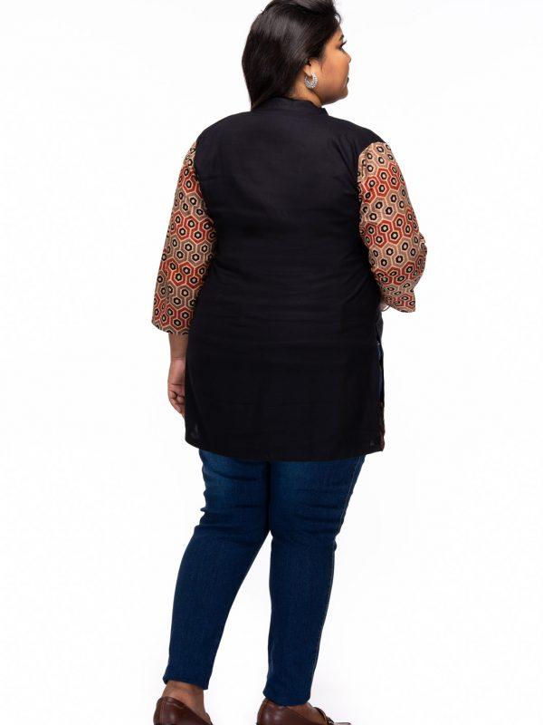 Plus size Relaxed Ajrakh cotton tunic - back