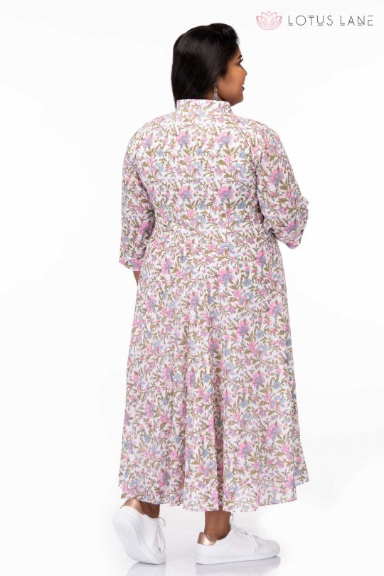 Plus size Kiss from a rose cotton hand block dress