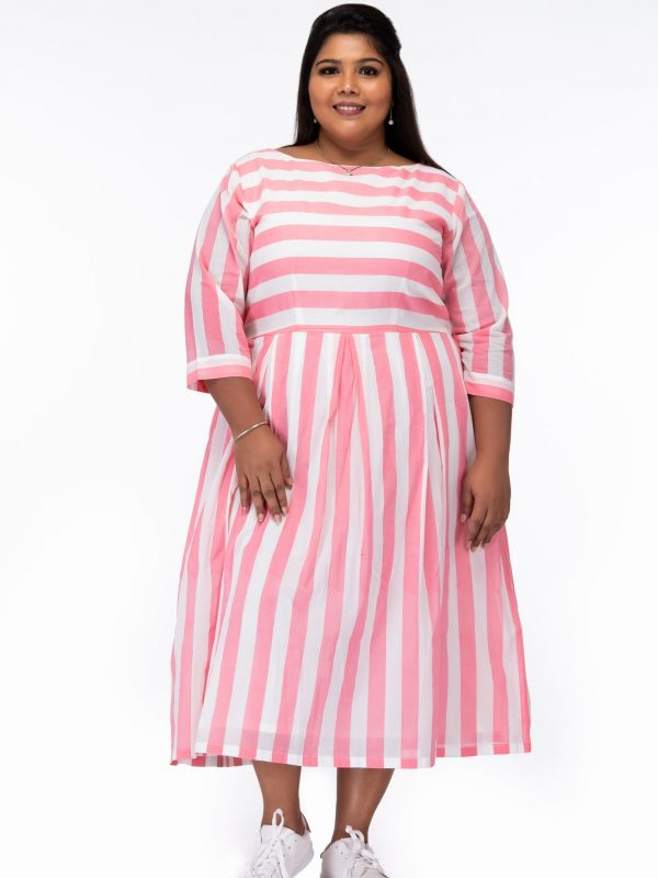 Plus Size Candy Stripes Pink Cotton Dress - Front
