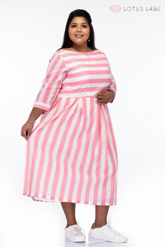 Plus Size Candy Stripes Pink Cotton Dress - Side