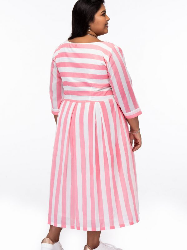 Plus Size Candy Stripes Pink Cotton Dress - Back