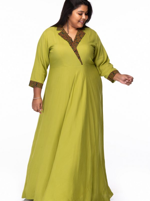 Plus size Green ivy rayon dress