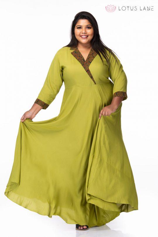 Plus size Green ivy rayon dress