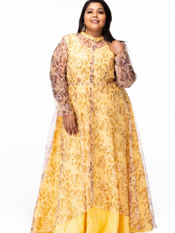 Plus size Mellow Yellow Floral Print Plus Size Maxi Dress - Front