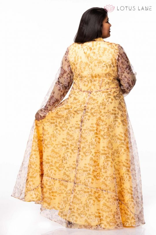 Plus size Mellow Yellow Floral Print Plus Size Maxi Dress