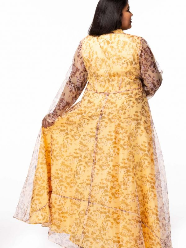 Plus size Mellow Yellow Floral Print Plus Size Maxi Dress