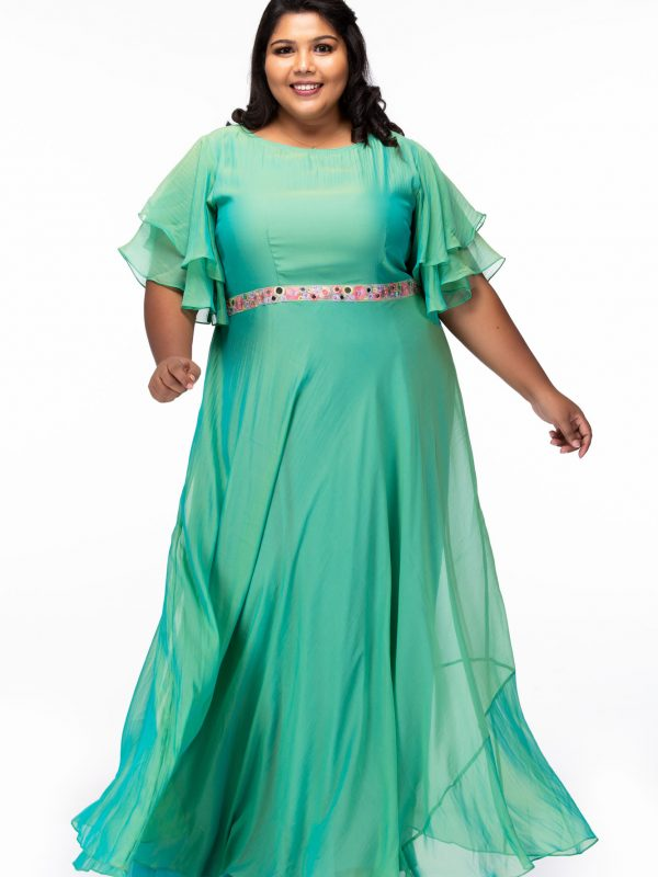 Plus size Shimmering Green Georgette Plus Size Gown