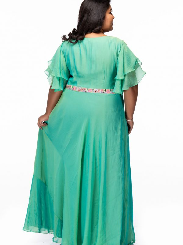 Plus size Shimmering Green Georgette Plus Size Gown - back