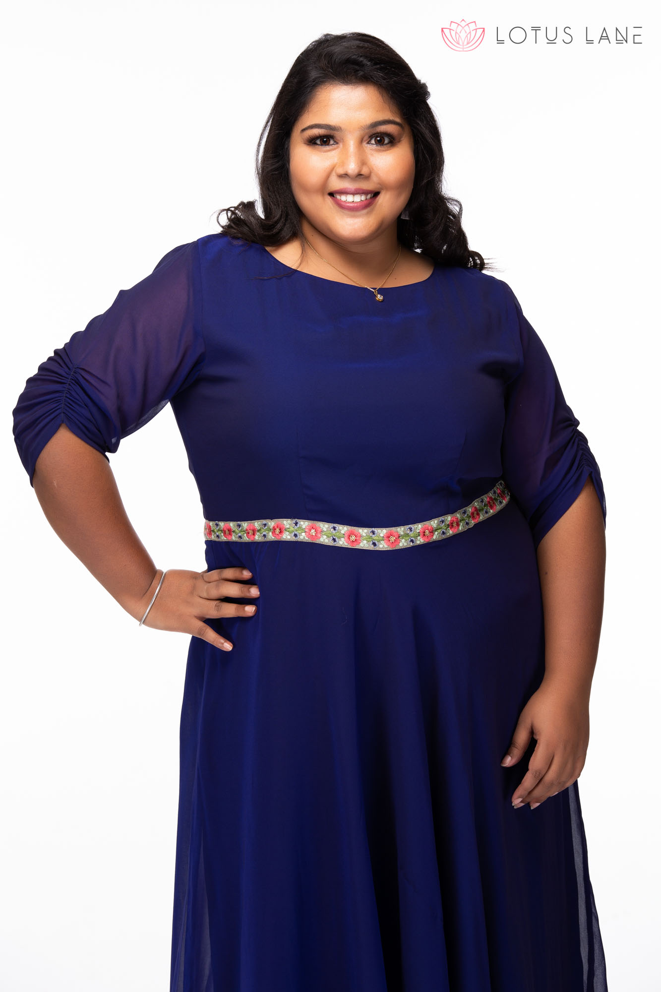 Plus size Hearts desire blue georgette dress