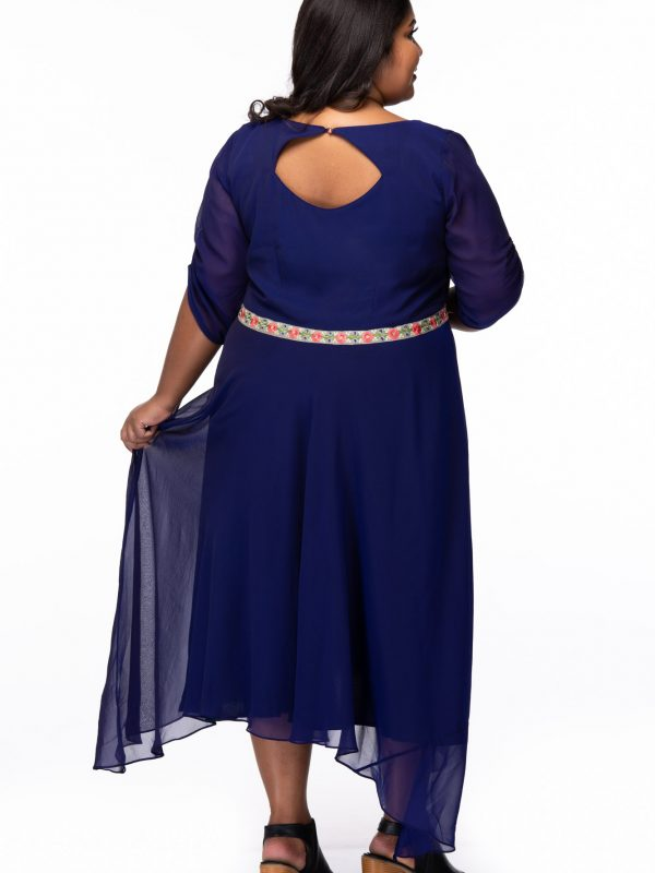 Plus size Hearts desire blue georgette dress