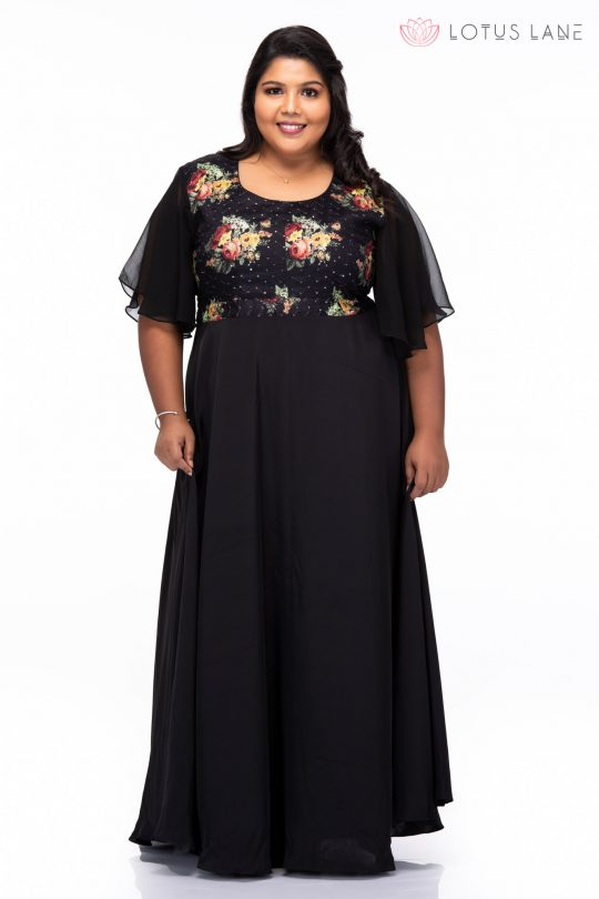 Plus size Starry Night Black Party Wear Dress - Front