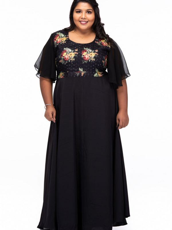 Plus size Starry Night Black Party Wear Dress - Front