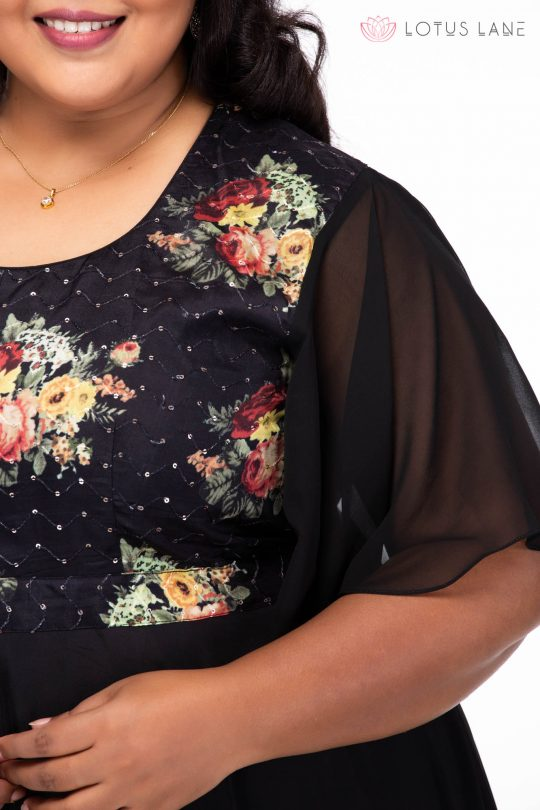 Plus size Starry Night Black Party Wear Dress - Closeup