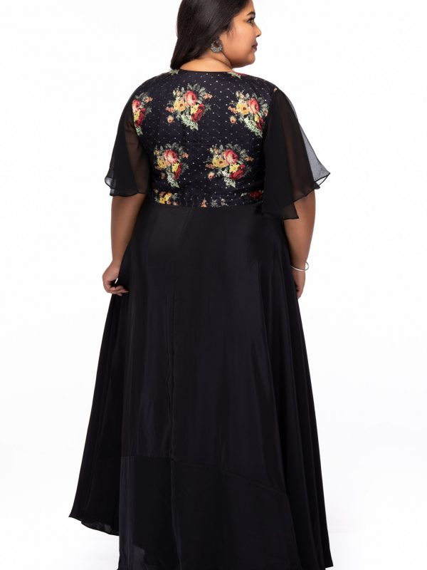 Plus size Starry Night Black Party Wear Dress - Back