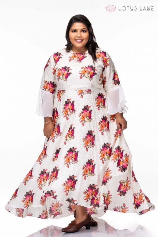 White floral plus size dress