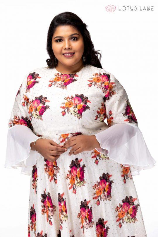 Plus size Moonlit night floral maxi dress