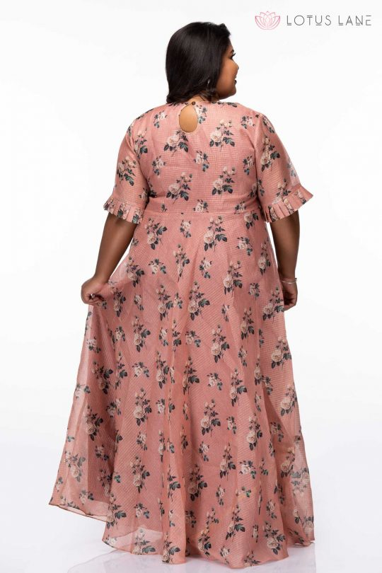 Plus Size Flowers and buds rose gold party wear dress