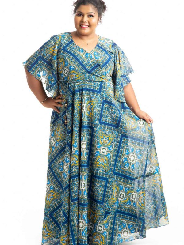 Plus Size Dress - Blue