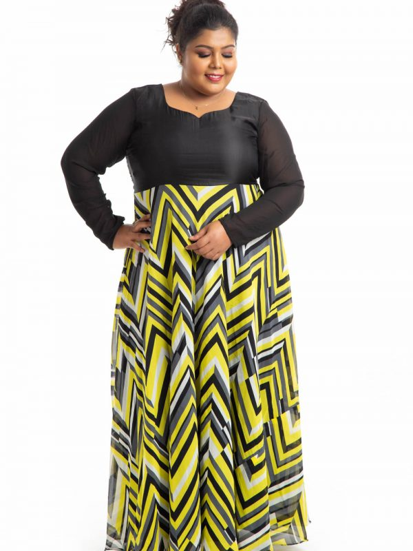 Plus Size Dress - Black and Yellow