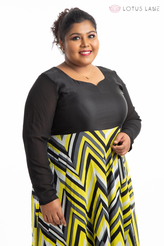 Plus Size Dress - Black and Yellow
