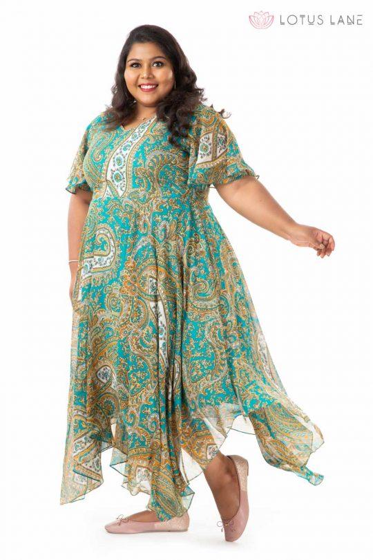 Plus Size Dress -Blue