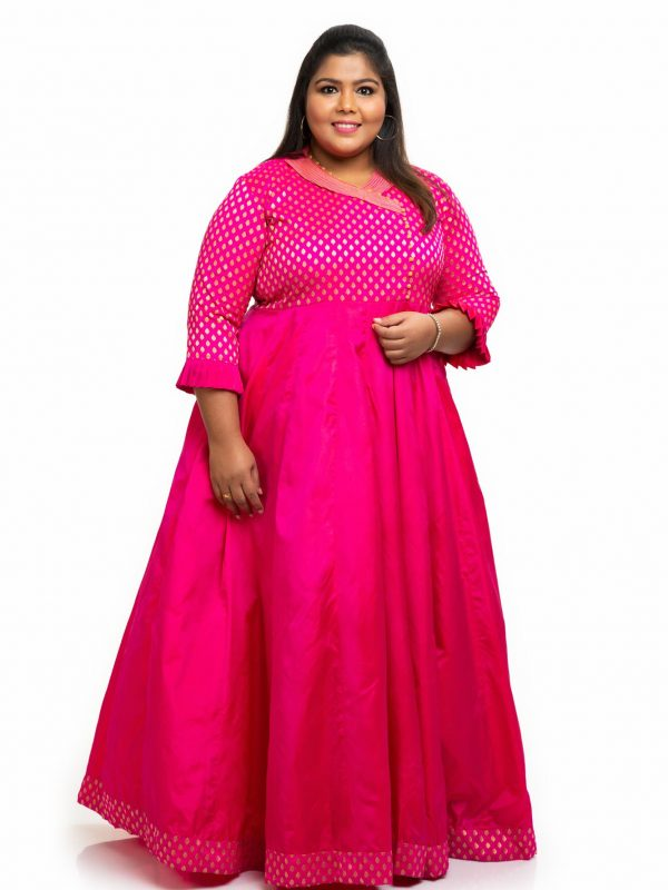 Collor neck with Pink brocade silk plus size dress 2