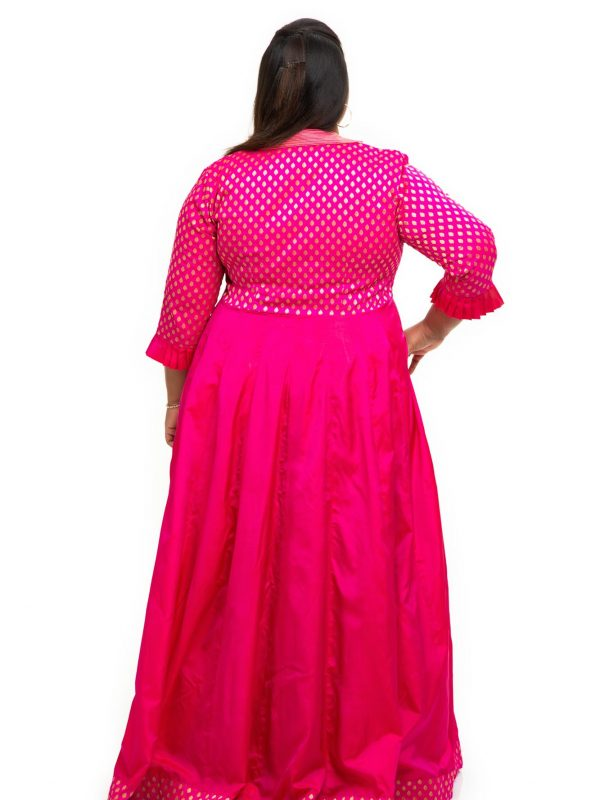 Collor neck with Pink brocade silk plus size dress