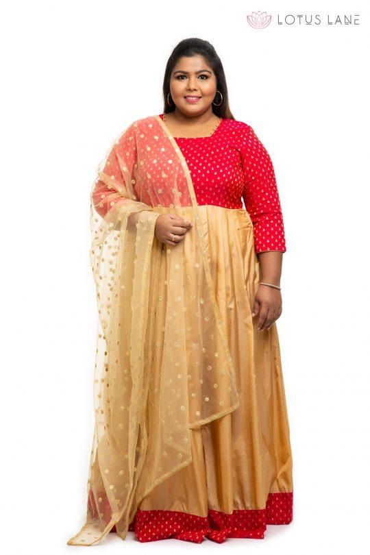 Red brocade silk plus size Dress 4