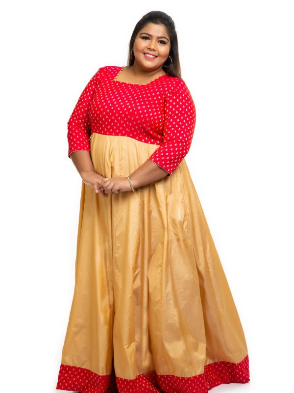 Red brocade silk plus size Dress 3
