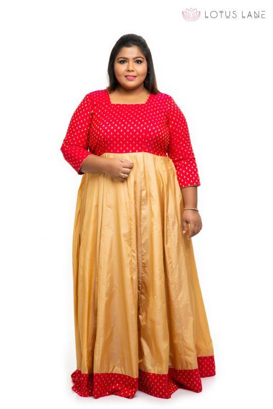 Red brocade silk plus size Dress 2