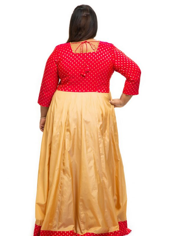 Red brocade silk plus size Dress back