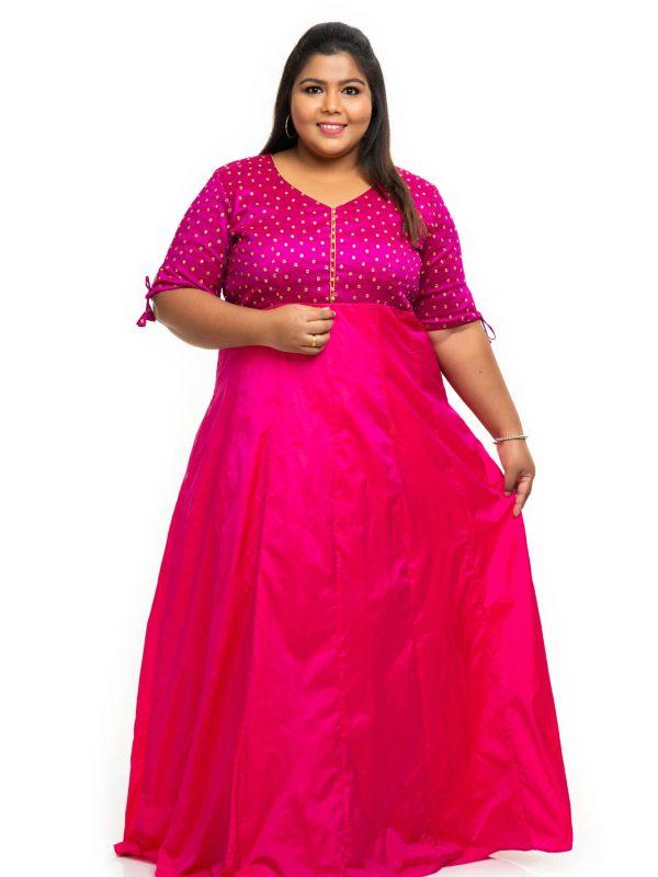 Pink sequin silk plus size Dress 1