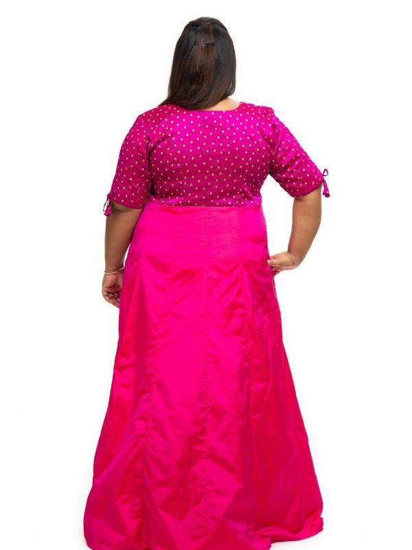 Pink sequin silk plus size Dress back