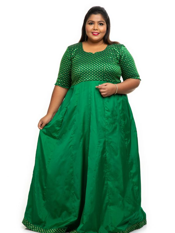 Green brocade plus size dress 4