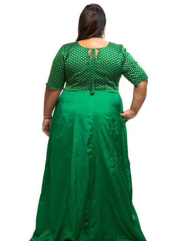 Green brocade plus size dress back