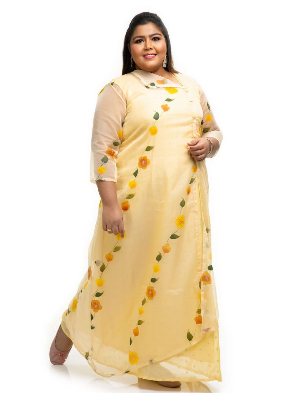 Yellow kota dress with a jacket on 2